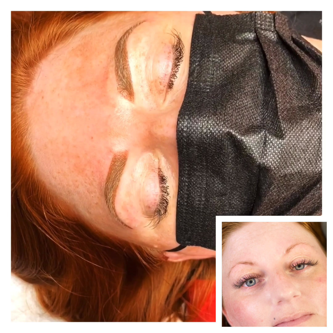 Ombre powder Brows right after procedure