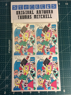Original art stickers and magnet