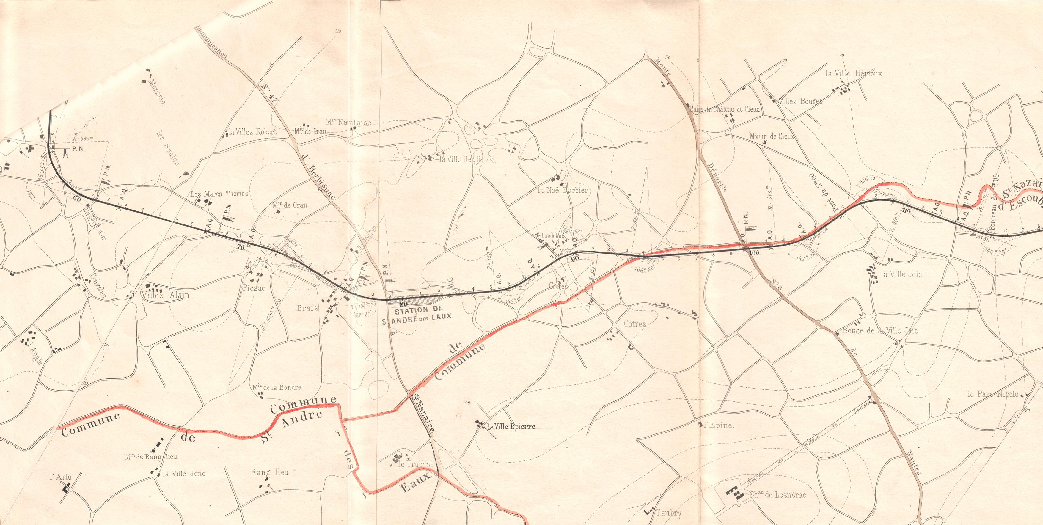 0- Plan de 1875 de la Compagnie du chemin de fer de Saint-Nazaire au Croisic.
