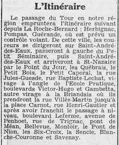 Tour de France article du 15 7 1939 Courrier de Saint-Nazaire