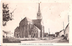1 SAINT ANDRE des EAUX - L'Eglise et la rue de la Poste