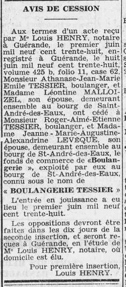 Boulangerie Tessier 1938-06-11