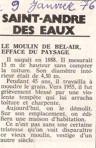 Bel Air - article de presse 1976