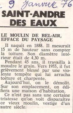 Bel Air - article de presse 1976
