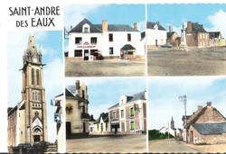 2453_-_SAINT-ANDRE-DES-EAUX_-_L'Eglise_-_Hôtel_de_la_Bascule_-_La_Place_et_le_Monument