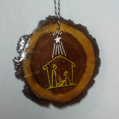 Mesquite ornament with nativity