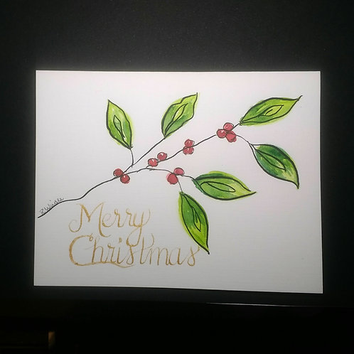 Handpainted Christmas card