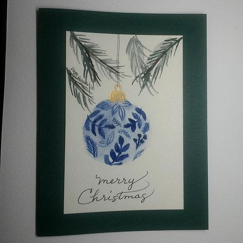 Handpainted watercolor Christmas card