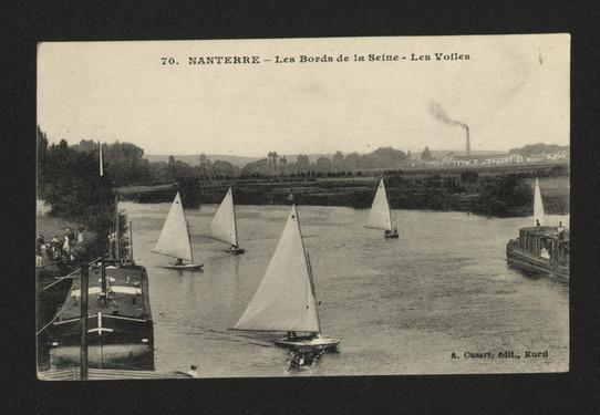Voiles et canotage sur la Seine à Nanterre. Carte postale,1900.