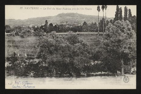 Mont-Valérien depuis l'Île Fleurie. Carte postale, 1900.