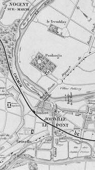 Carte de 1865 figurant l'ancien château de Polangis, qui appartenait historiquement à la riche abbaye de Saint-Maur. Ce château donnait sur l'actuelle avenue Foch.