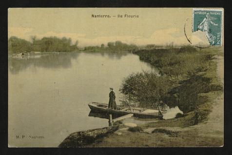 Berges de Seine à Nanterre. Carte postale, 1900.