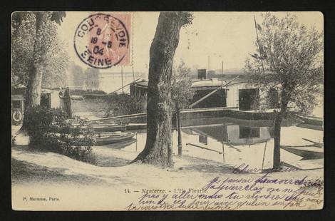 Embarcadère de l'Île Fleurie. Carte postale, 1900.