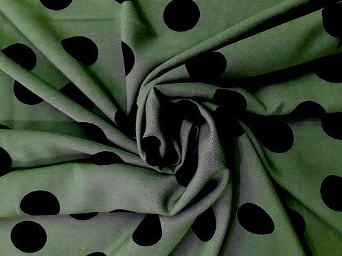 Black Dots on Olive Challis