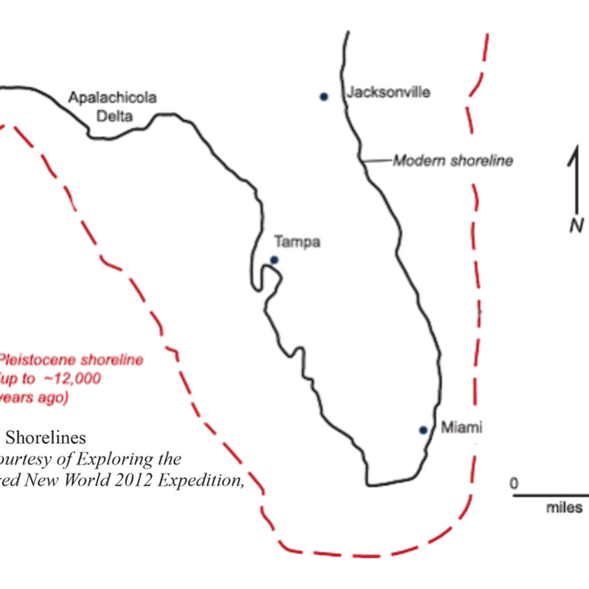 Map showing the dimensions of Florida up to 12,000 years ago.