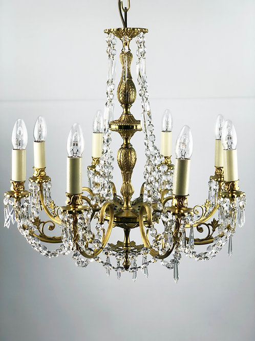 French Style Gilt and glass chandelier.