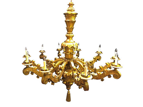 Large French - Wooden Gilt Chandelier with exquisite detailed Scrolled Gilt Arms