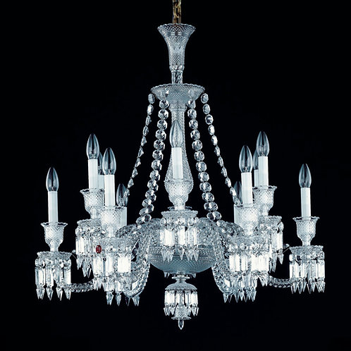 French Style Clear Crystal Chandelier, 12 Lights.