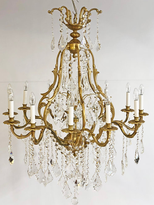 French style satin gold plated and crystal Chandelier, twelve external lights.