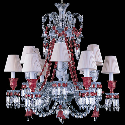 French Style Clear & Ruby Crystal Chandelier, 12 Lights with Shades.