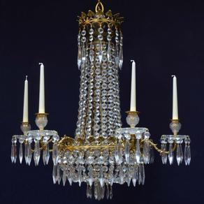 6605 - Regency Cut Glass &   Gilt Chandelier.