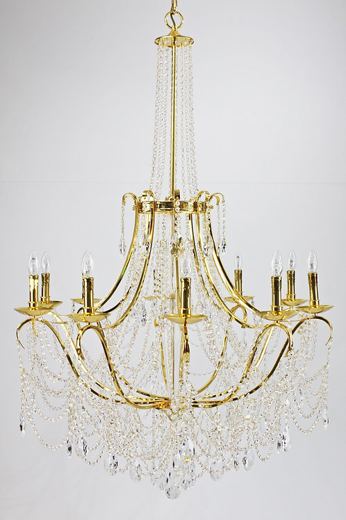 French style chandelier in 24 carat gold plate.