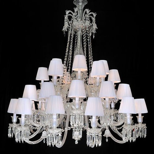 French Style Clear Crystal Chandelier, 36 Lights with Shades.