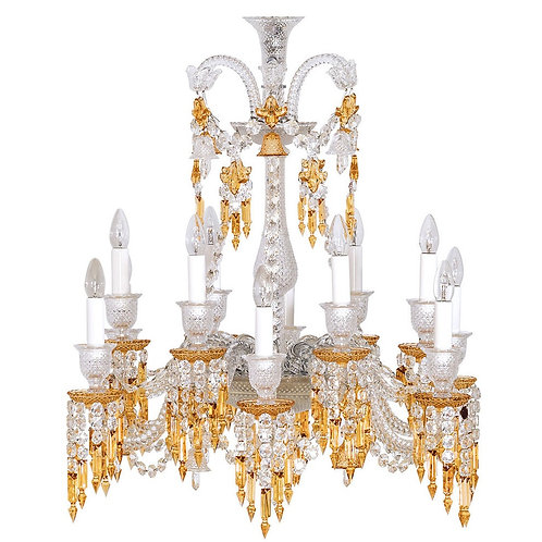 French Style Clear & Amber Crystal Chandelier, 12 Lights.