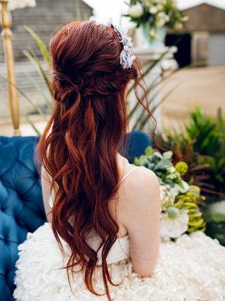 Long bridal hair with accessories