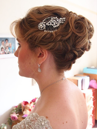 Bridal updo with accessories