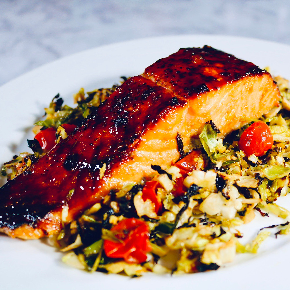 Oven Roasted Salmon with Shaved Brussels and Roasted Tomatoes