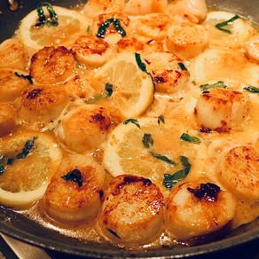 🥘Seared Scallops In A Basil Lemon Butter Sauce🍋