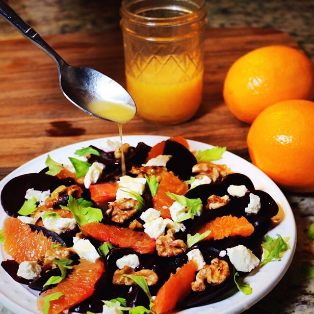 Roasted Beet, Orange & Goat Cheese Salad With Walnuts
