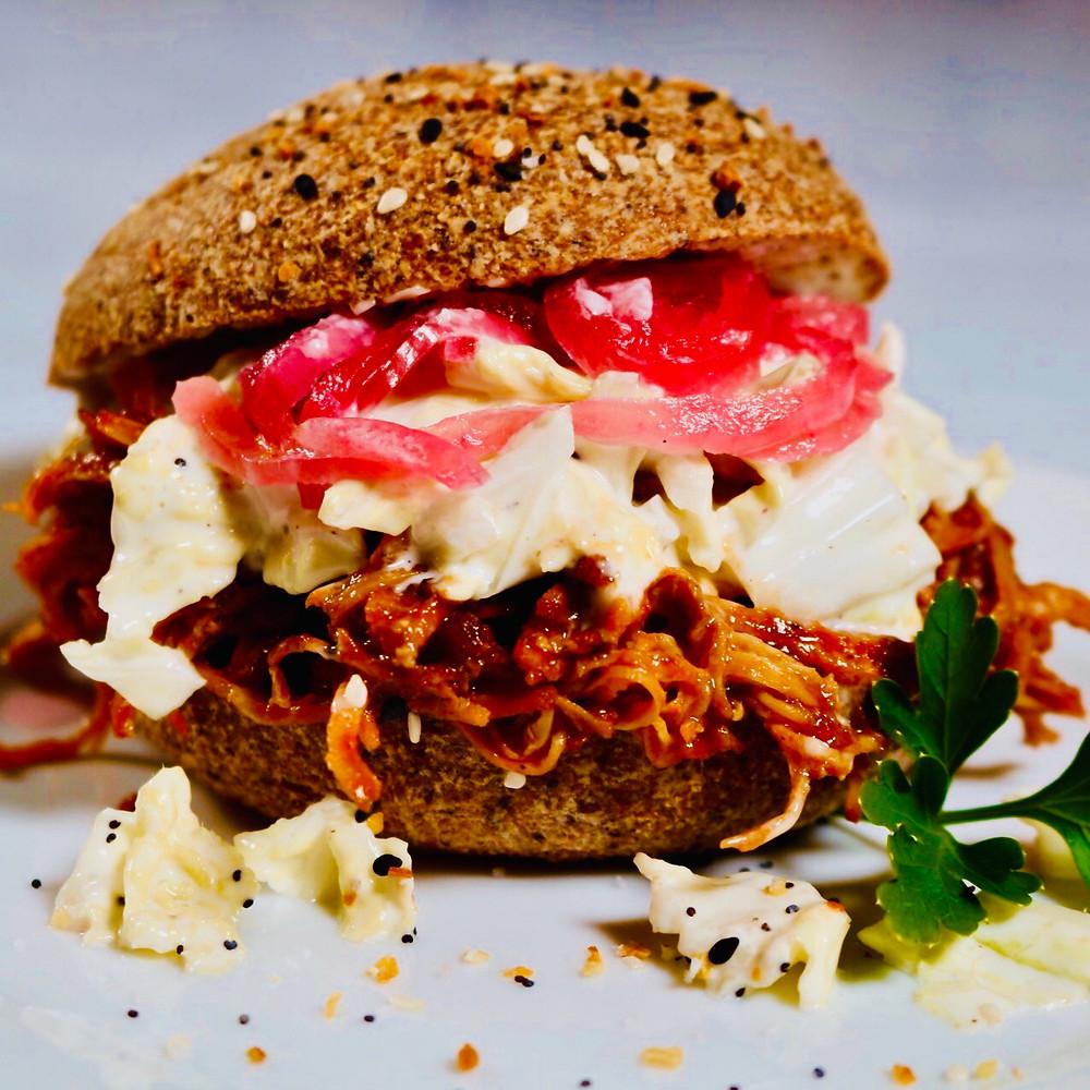 Low Carb & Gluten Free Pulled BBQ Chicken Sandwich