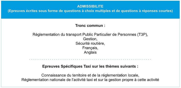 Admissibilité examen taxi isère
