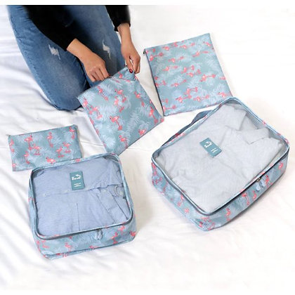 Waterproof Travel Organizer - Flamingo - Set of 6