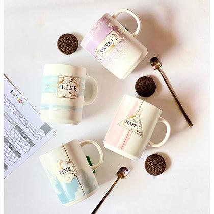 Coffee Mug - Like with Silver Spoon & lid