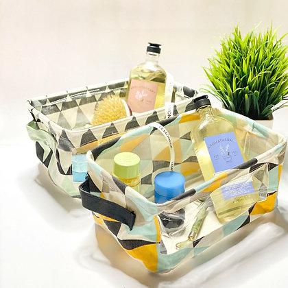Foldable Canvas Basket - Aztec - Mint