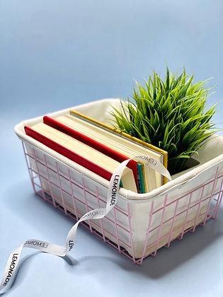 Organizer - Metallic Basket With Canvas - Pink