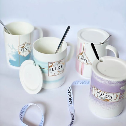 Coffee Mug - Sweet with Silver Spoon & lid