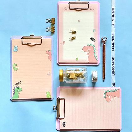 Dinosaur Clip Board - Pink