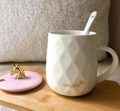 Coffee Mug - Hexagon - Unicorn - Pink & Gold