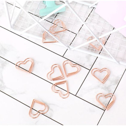 Bookmark/Paper Clips Set - Heart - Set of 6