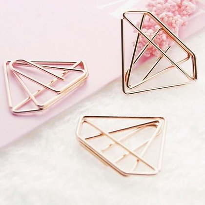 Paper Clips / Bookmark Set of 6 - Diamond - Rose Gold