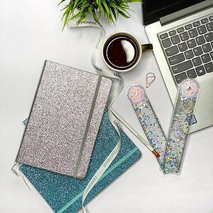 Notebook - Gliterati With Elastic Band - Silver