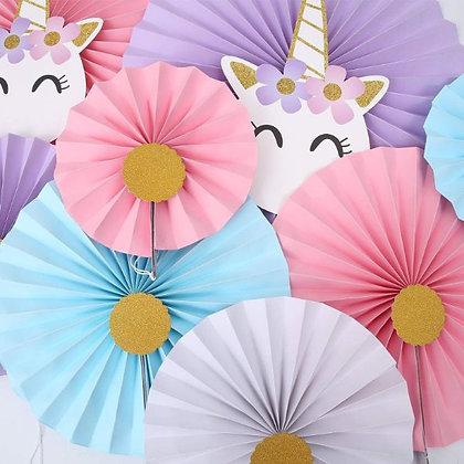 Unicorn Paper Fans - Set of 8