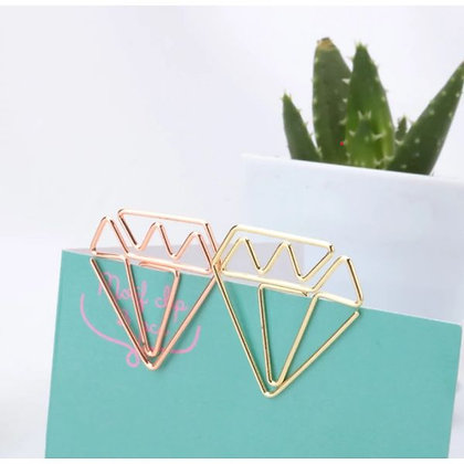 Paper Clips / Bookmark Set of 6 - Diamond - Gold