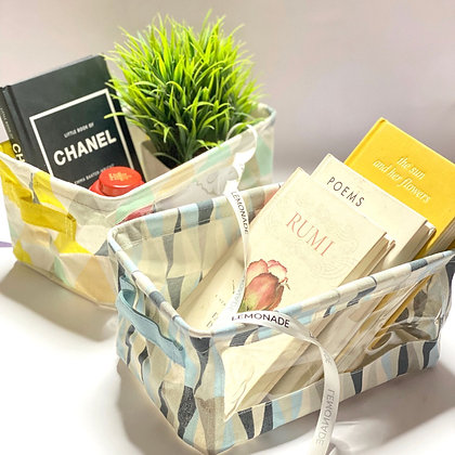 Foldable Canvas Basket - Aztec - Yellow