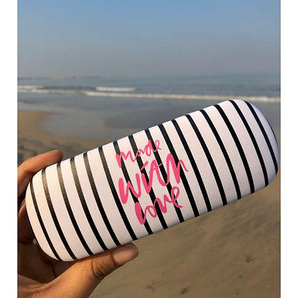 Sunglasses Case - Made With Love - Black and White