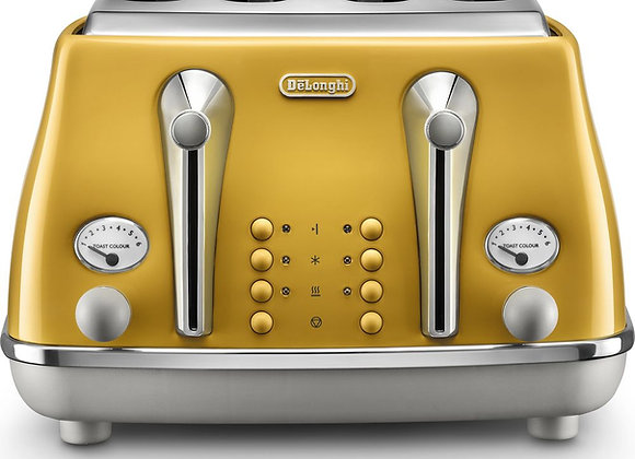 DELONGHI Icona Capitals CTOC4003.Y 4-Slice Toaster - Yellow